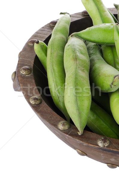Groene bonen peul houten kom geïsoleerd witte Stockfoto © homydesign