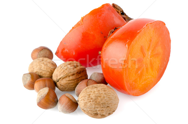 Olgun fındık beyaz meyve arka plan turuncu Stok fotoğraf © homydesign