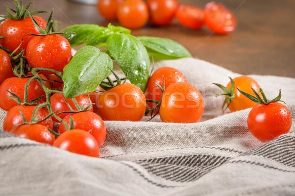 небольшой красный помидоры черри деревенский винограда лист Сток-фото © homydesign