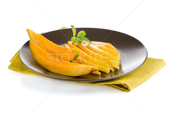 マンゴー フルーツ ブラウン プレート 白 食品 ストックフォト © homydesign