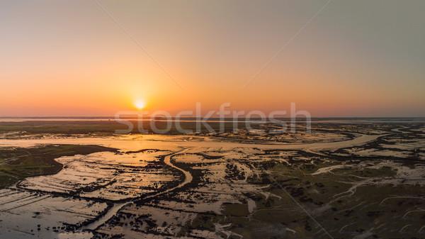Aerial View of Esteiro da Tojeira at sunset Stock photo © homydesign