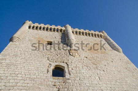 Stone tower of Penafiel Castle, Spain Stock photo © homydesign