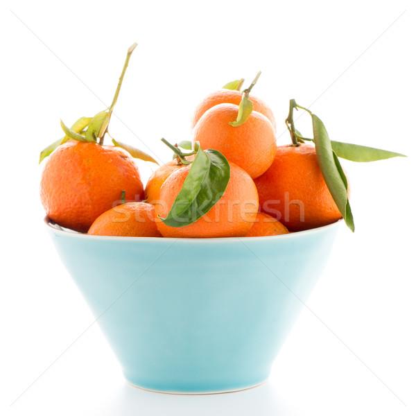 Cerámica azul tazón aislado blanco alimentos Foto stock © homydesign