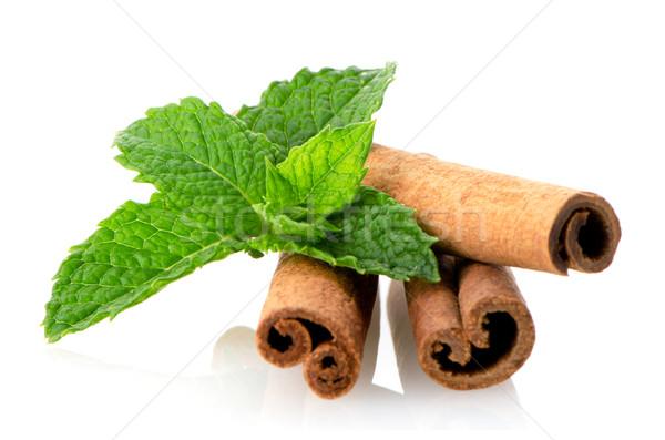 Stock photo: Cinnamon sticks and mint leaves