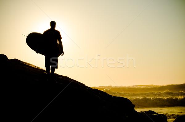 Сток-фото: Surfer · смотрят · волны · закат · Португалия · пляж