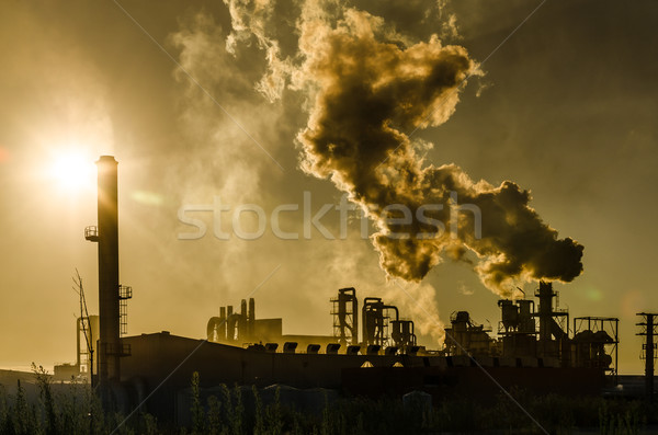 Air pollution coming from factory smoke Stock photo © homydesign
