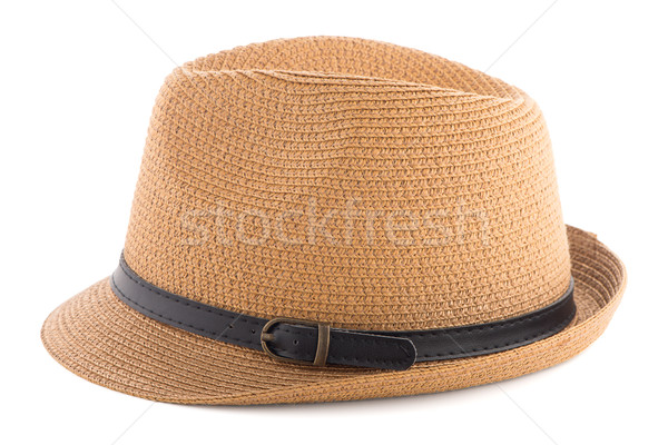 соломенной шляпе изолированный белый женщины солнце фон Сток-фото © homydesign