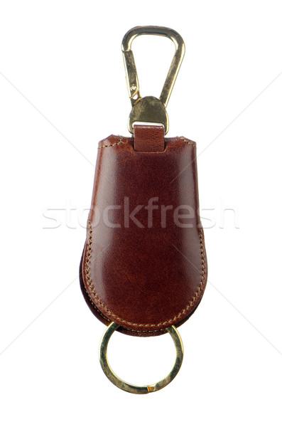 Stock fotó: Bőr · kulcs · lánc · izolált · fehér · háttér