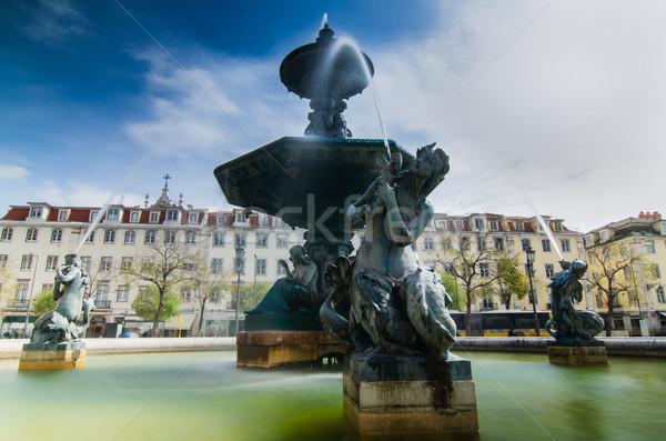 Barok çeşme kare su yol dizayn Stok fotoğraf © homydesign