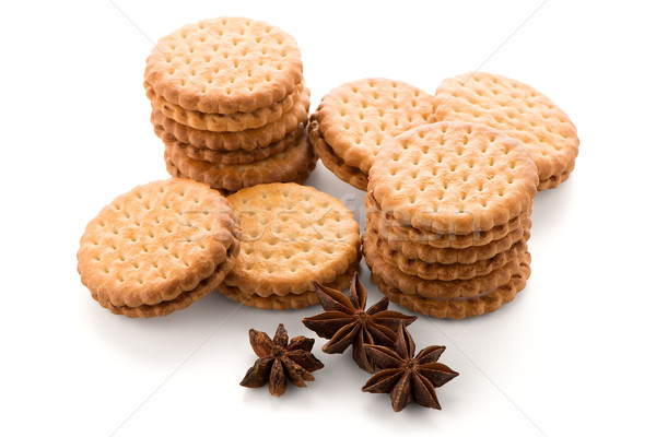 Sanduíche biscoitos baunilha enchimento branco café da manhã Foto stock © homydesign