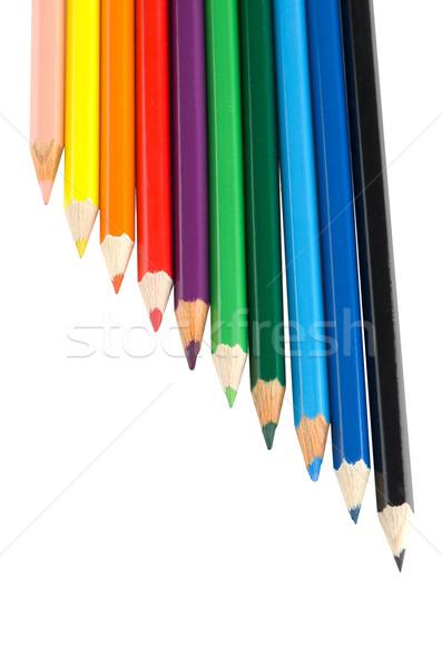 Stock fotó: Szín · ceruzák · izolált · fehér · közelkép · fa