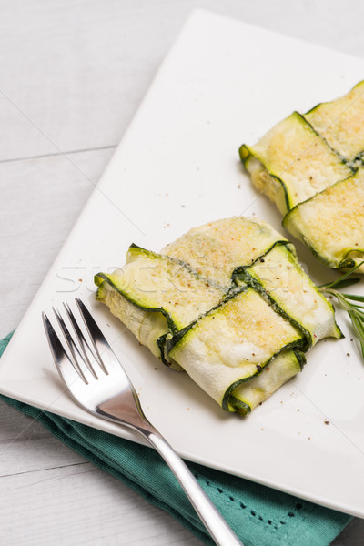 Interlaced courgettes or zucchini slices Stock photo © homydesign