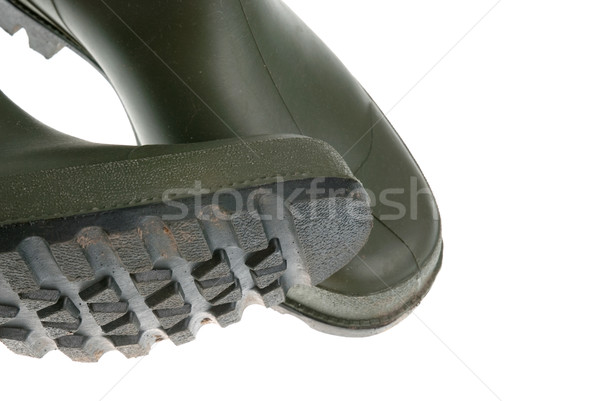 Stock photo: Detail of green rubber boots