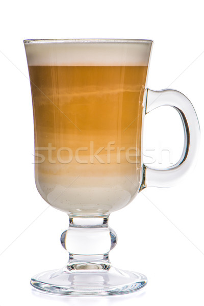 Glass cup mix latte coffee foam Stock photo © homydesign