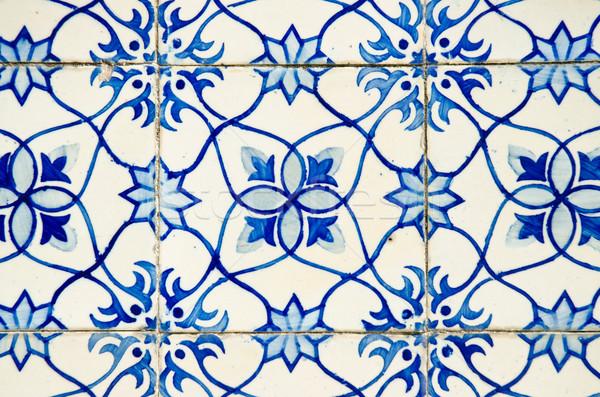 Oude betegelde Blauw werk vintage antieke Stockfoto © homydesign