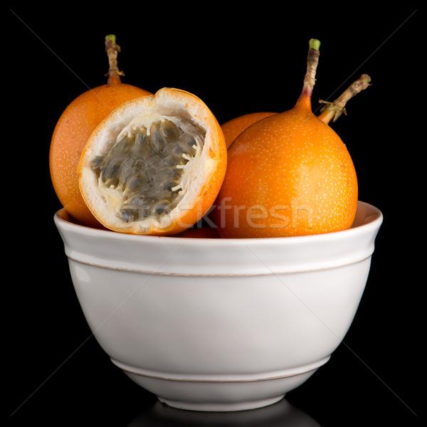 Pasión frutas cerámica blanco tazón negro Foto stock © homydesign