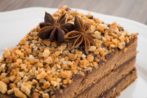 Stock fotó: Csokoládés · sütemény · fehér · tányér · fa · asztal · torta · karácsony