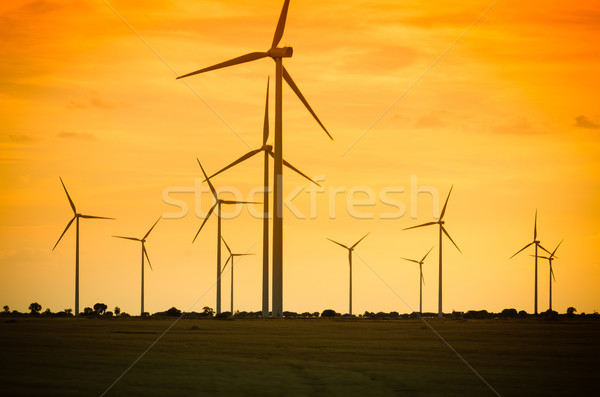 Group of mills for electric power generation Stock photo © homydesign