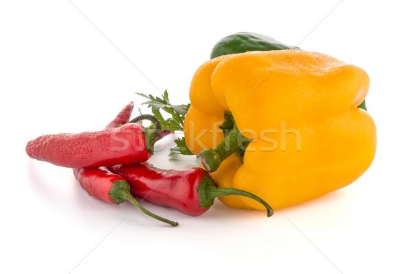 Middellandse zee groenten Rood chili paprika peterselie Stockfoto © homydesign