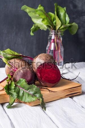 素朴な 木製のテーブル 白 描いた 食品 背景 ストックフォト © homydesign