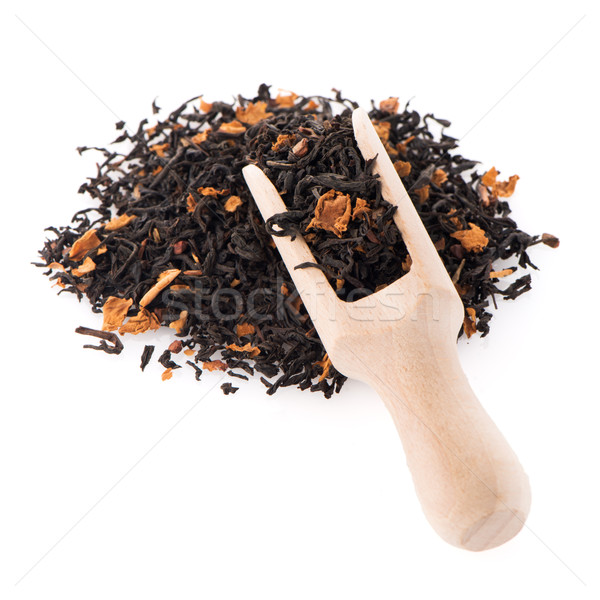 Black Dry Tea with a Wooden Spoon Stock photo © homydesign