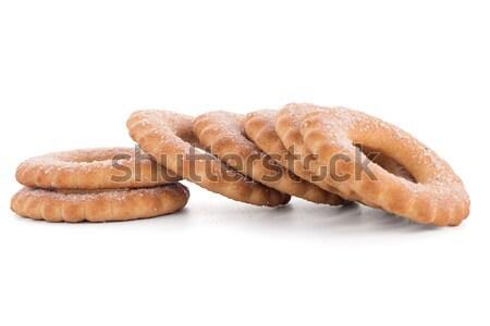 Stock fotó: Gyűrűk · kekszek · köteg · izolált · fehér · étel