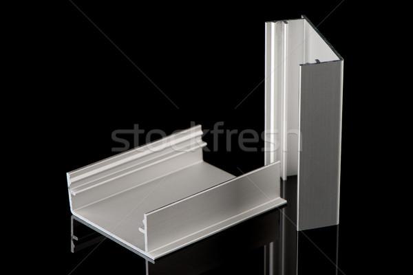 Сток-фото: алюминий · профиль · образец · изолированный · черный · здании