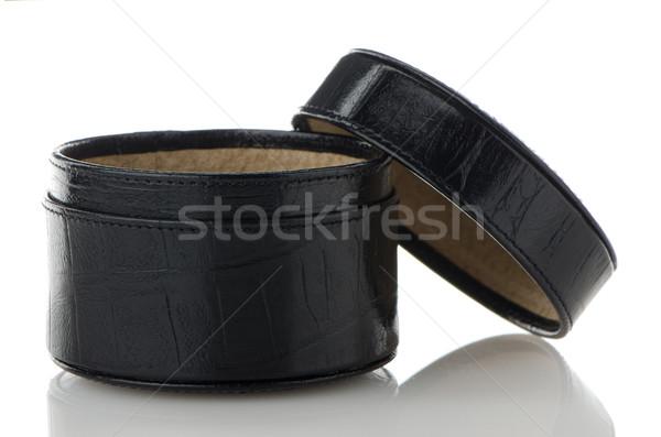 Black leather jewelery box Stock photo © homydesign
