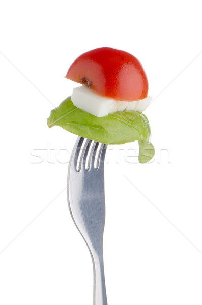 Caprese salatası çatal malzemeler yalıtılmış beyaz yeşil Stok fotoğraf © homydesign