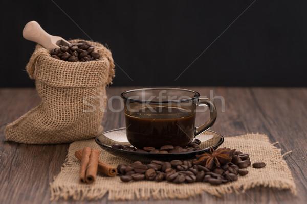 Tasse de café toile de jute sac fèves rustique Photo stock © homydesign