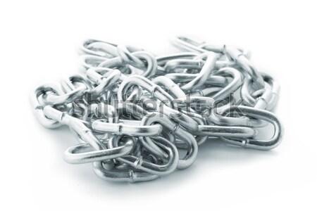 Stock foto: Silber · Kette · isoliert · weiß · Stahl