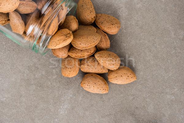 üveg bögre mandulák konyha étel háttér Stock fotó © homydesign