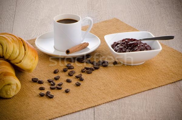 Fincan siyah kahve kruvasan ev doku gıda Stok fotoğraf © homydesign