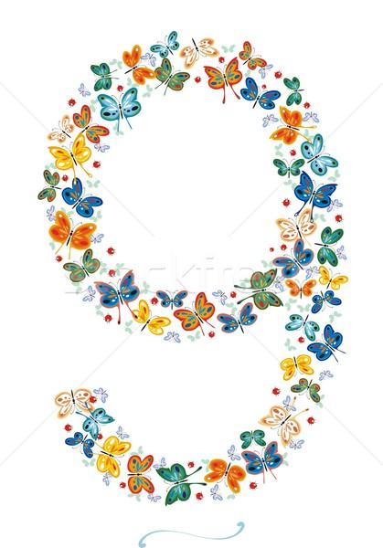Szám kilenc pillangók katicabogarak nem gradiens Stock fotó © HouseBrasil