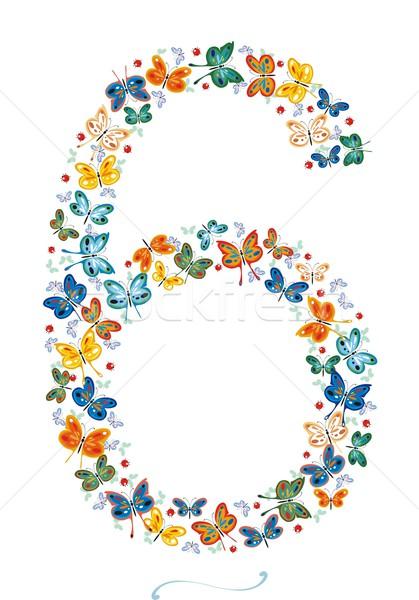 Aantal zes vlinders lieveheersbeestjes geen helling Stockfoto © HouseBrasil