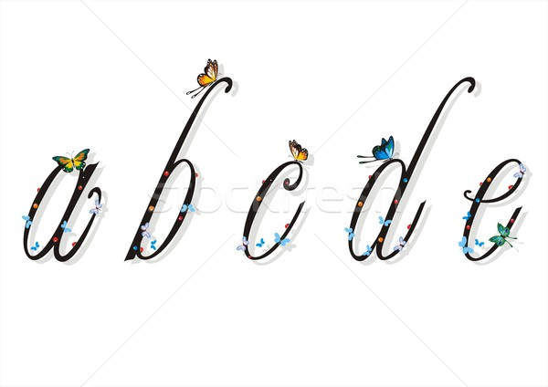 Small Letters With Butterflies and Flat Shadows 1 Stock photo © HouseBrasil