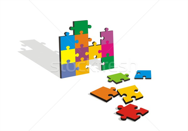 Color Jigsaw on Whithe Background Stock photo © HouseBrasil