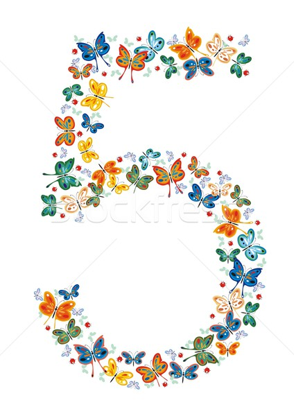 Number Five by Butterflies Stock photo © HouseBrasil