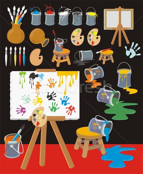 Schilderij objecten collectie cartoon stijl groot Stockfoto © HouseBrasil