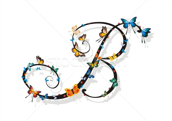 Flat Shaded Letter B with Butterflies Stock photo © HouseBrasil