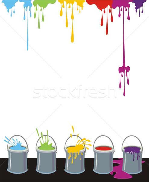 Inkt druppels verf dozen kleurrijk rij Stockfoto © HouseBrasil