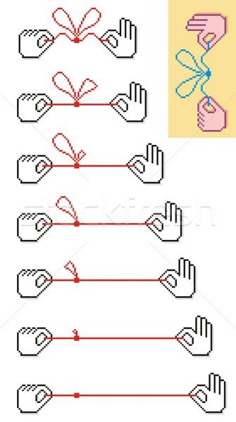 Pixel csomó mozgás kezek játszik fonal Stock fotó © HouseBrasil
