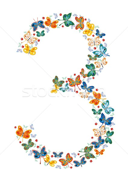 Number Three by Butterflies Stock photo © HouseBrasil