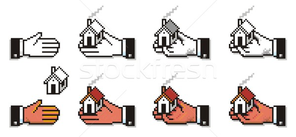 Pixelated Hands with Houses and Keys Stock photo © HouseBrasil