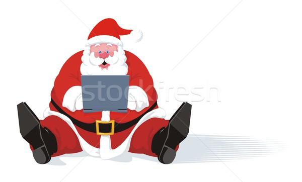 Laptop kerstman typen eigen buik Stockfoto © HouseBrasil
