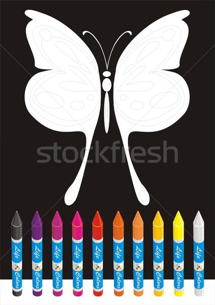 Groot vlinder school ingesteld kleur krijtjes Stockfoto © HouseBrasil