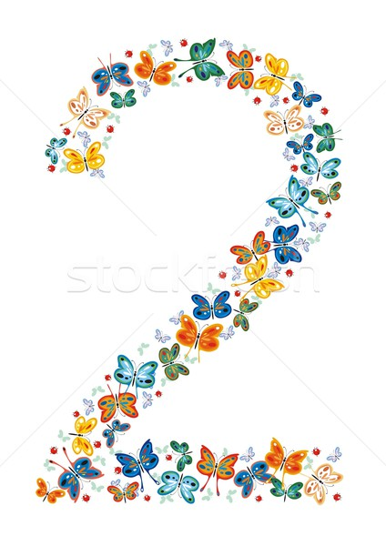 Number Two by Butterflies Stock photo © HouseBrasil