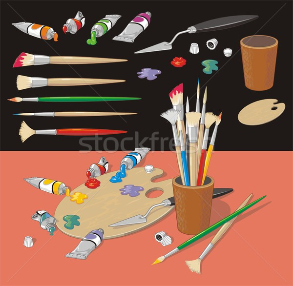 Painting Objects Collection Realistic Style Stock photo © HouseBrasil