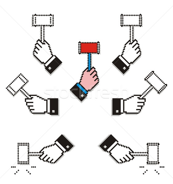 Pixelated Hands with Hammers Stock photo © HouseBrasil