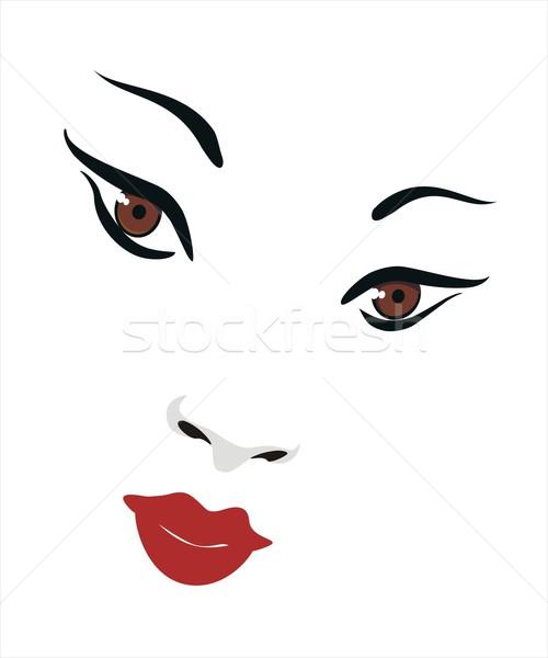 Szépség arc egy ázsiai fehér nem Stock fotó © HouseBrasil